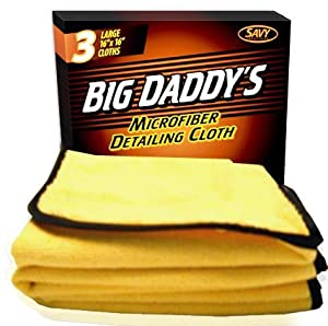 Big Daddys TM Best Microfiber Towels - 3-pack Cloths For Detailing and Cleaning - Perfect Drying Towel - For Travel And Sports - Perfect For Kitchen Bath and Furniture - Thick 360 Gram 16 Inch By 16 Inch - Two Sided For Various Applications