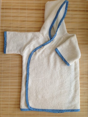 Toddler Hooded Bath Wrap - BLUE TRIM, Super absorbent and soft- rayon from Bamboo & Organic Cotton