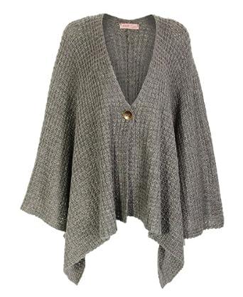Chunky Knit Cape Cardigan Sweater Asymmetric Hem Woolen Wrap Shawl Poncho 977...