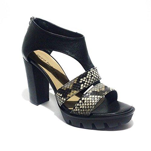 Laura Bellariva sandalo donna pelle nero-pitone made in italy tacco10cm art.5...