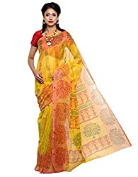 Unnati Silks Women yellow supernet saree