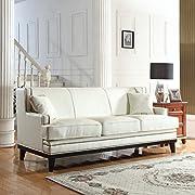 Divano Roma Furniture Modern Bonded Leather Sofa with Nailhead Trim Detail (White)
