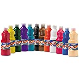 Prang Ready-to-Use Liquid Tempera Paint, 16-Ounce Bottle, Case of 12, Assorted Colors (21696)
