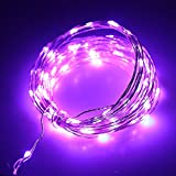 JiaMao Fashionable Romantic Waterproof 10 Meters 5V 100 LED Fairy USB Sliver String Lights Decorative Stripes for Christmas Home Holidays Halloween Party Wedding (Purple)
