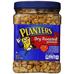 Planters Dry-Roasted Peanuts, 34.5 Oz. Tub