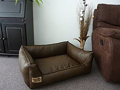 Similpelle Dog Bed / Sofa Artificial Leather 90 cm x 70 cm Brown