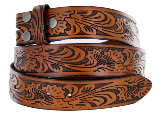 Western Embossed Tooled Brown Leather Belt Strap with Snaps for Interchangeable Buckles (38)