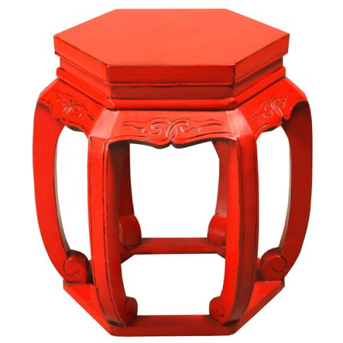 Cheap EXP Handmade 21″ Red Wood Hexagon Barrel Accent / End Table With Carved Open Leg Design (B001B14JZO)