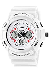 Fanmis Unisex Sport Watch Analog/Digital Dual Time Multifunction Alarm Led Wristwatch White
