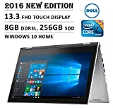 "2016 Newest Dell Inspiron 7000 13.3"" FHD (1920 x 1080) Touchscreen 2 in 1 convertible Laptop, Intel Core i7-6500U, 8GB, 256GB SSD, HDMI, Backlit Keyboard, Stylus, Bluetooth, No DVD, Windows 10- silver"