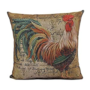Amazon.com - BSW House Decor Dantiya Rooster Painting Decorative Throw Pillowcases Cotton Linen ...