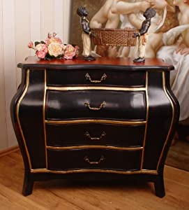 ausgefallene schwarze kommode im barockstil exklusiv k che haushalt. Black Bedroom Furniture Sets. Home Design Ideas