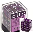Chessex Dice d6 Sets: Purple with White Translucent - 12mm Six Sided Die Block of Dice