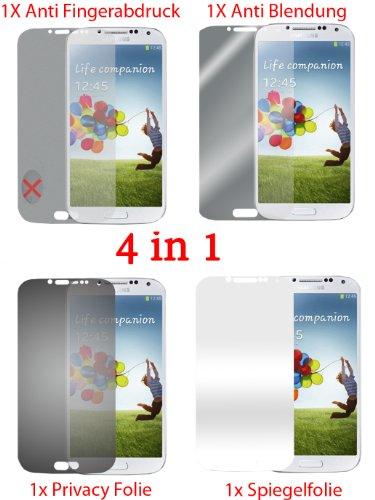 Pellicola protettiva per Samsung Galaxy S4 I9500 I9505 (4 pezzi) - pellicola trasparente di protezione frontale. Specchio, trasparente, anti impronta digitale, privacy