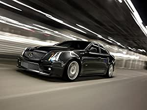 "Cadillac CTS-V Sport Sedan (2011) Car Art Poster Print on 10 mil Archival Satin Paper Black Front Side Speed View 20""x15"""