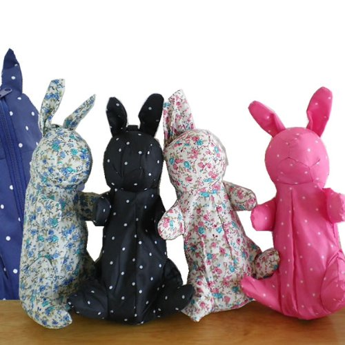 折りたたみ傘 軽量/動物シリーズ/ウサギ/ラビット/シューズセレクション (水玉ブラック)
