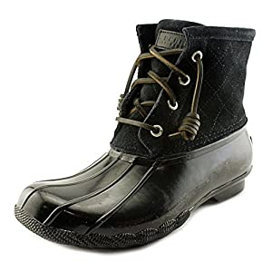 Sperry Top-Sider Women's Saltwater Boot, Black Quilted Suede, 6 M US