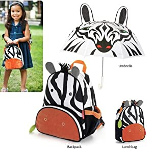 Cartoon School Backpack with Zebra Kids Animal Insulated Lunch Bag +Zebra Umbrella Gift Set by Genesis
