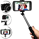 Ultra Light Selfie Stick - Monopod with Bluetooth Shutter button + FREE Carry Wrist Strap - Stainless Steel Phone Holder [Ecofriendly and Carbon fiber] Self Shooting Portrait Adjustable Foldable Mini Aluminum Extendable Pole - Rechargable Battery 120 mAh - Best for iPhone 5 5s 5c 6 6s Plus GoPro Android Digital SLR Camera Samsung Galaxy 3 4 5 6 Smartphone Note 2 3 4 (Gold)