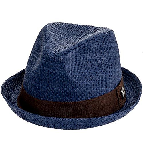 Peter Grimm Mens Navy Blue Depp Fedora Hat (XXL)