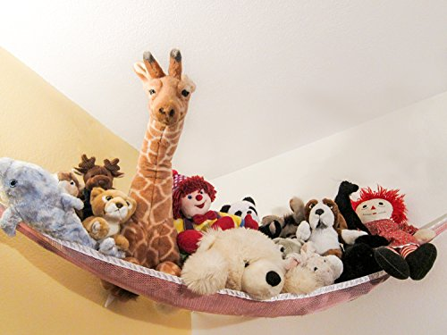 Large Pink Toy Hammock for Stuffed Animals and Toys (Installation Hardware Included)