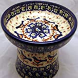 Polish Pottery Raised Cat Small Dog Dry Food Dish or Water Bowl &#8211; Signature Limited Edition BB Robin