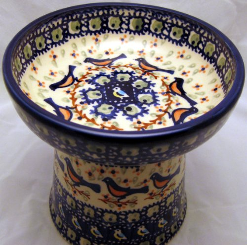Polish Pottery Raised Cat Small Dog Dry Food Dish or Water Bowl - Signature Limited Edition BB Robin