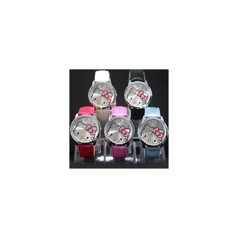 Hello Kitty Quartz Girls Ladies Wrist Watches 5pcs Pink White Black Blue Rosepink