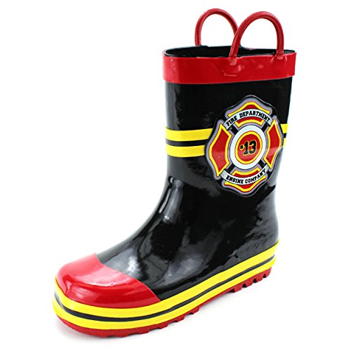 Fireman Kids Firefighter Costume Style Rain Boots (11/12 M US Little Kid, Fire Dept Black) (Firefighter Gear For Kids compare prices)