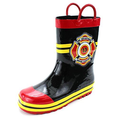 Fireman Kids Firefighter Costume Style Rain Boots (13/1 M US Little Kid, Fire Dept Black)