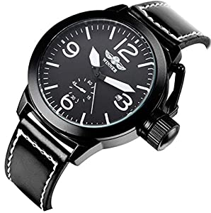 Fanmis Men Automatic Mechanical Calendar Analog Display Black Leather Band Wrist Watch Black