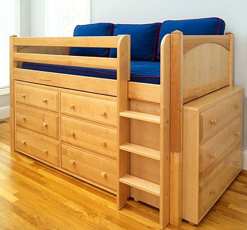 Video Review Twin Low Loft Bed In Natural Finish With