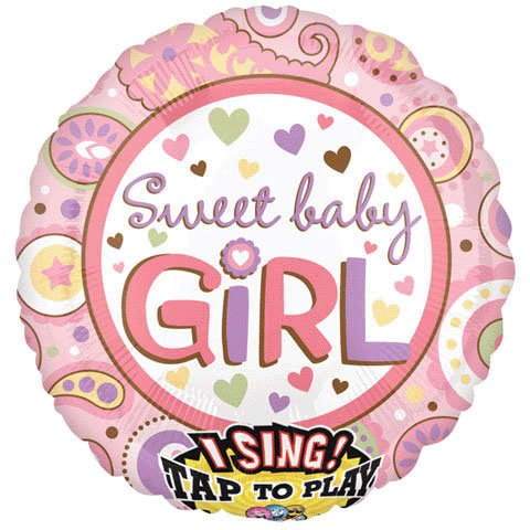 "Anagram International Sweet Baby Girl S-A-T Balloon, 28"", Multicolor"