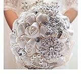 Amazon.co.jp7.5-7.9 インチ高級手作りロマンチックなシルクのバラ ブライダル ウェディング ブーケ ホワイト