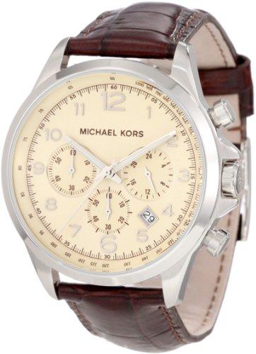 Michael Kors Men's MK8115 Brown Leather Quartz Watch with Beige Dial