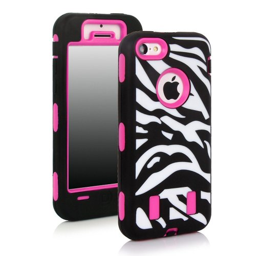 Meaci® Apple Iphone 5C Hard Soft Case Zebra Stripes Combo Hybrid Defender High Impact Body Armorbox Pc&Silicone Material (Zebra&Pink)
