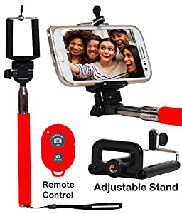 Selfie Stick Monopod With Bluetooth Remote Wireless Shutter Connectivity Compatible For Asus Zenfone 2 Laser (5.0 inch) Lazer ZE500KL-RED