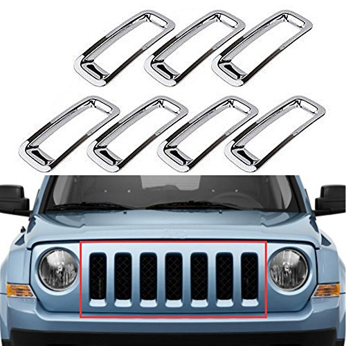 Triple Chromed Front Grille Grill Inserts Trims Decor Rings Covesr Guards Protectors for Jeep Patriot 2011 2012 2013 2014 ABS 7pcs/set (2014 Jeep Patriot Grill Insert compare prices)