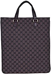 Gucci Women's Brown Canvas Leather Trimmed Guccissima Print Tote Handbag Bag