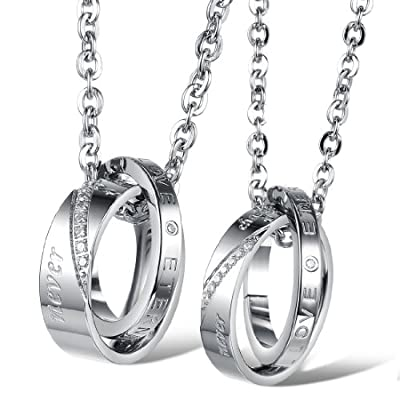 Love Necklace Matching Promise Rings Pendant
