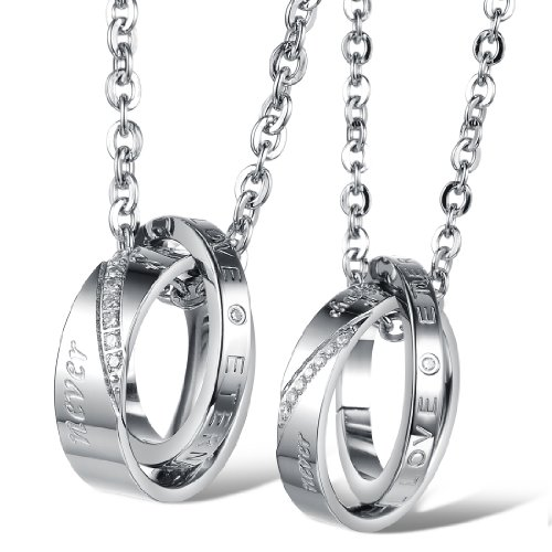 Fate Love His & Hers Staninless Steel Simple Design Matching Promise Rings Pendant Love Necklace Set for Lover