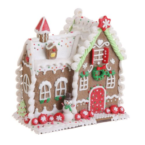 RAZ Imports – Multicolored Gingerbread House 8″