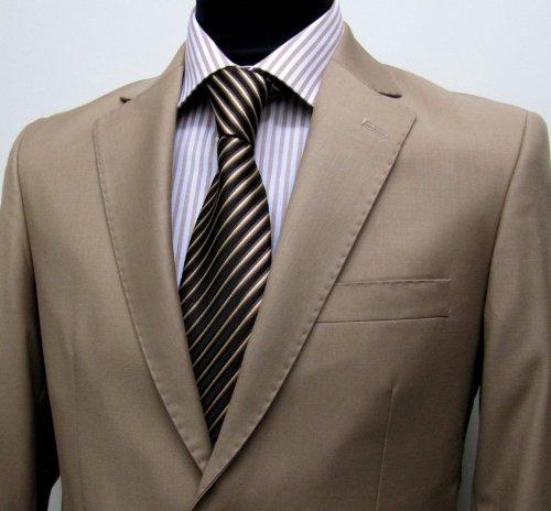 MUGA mens Suit elegant, Slim-line, Light Brown, Size 42R (EU 52)