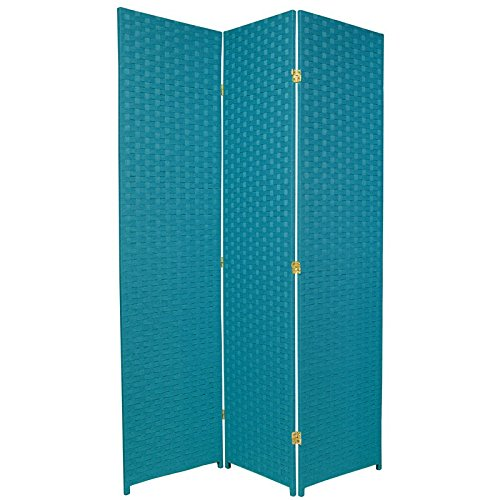 Oriental furniture beautiful colorful floor screen 6 feet tall woven fiber rattan style room - Opaque room divider ...