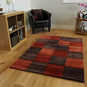 Warm rust orange choco brown squared designer for Living room rugs amazon