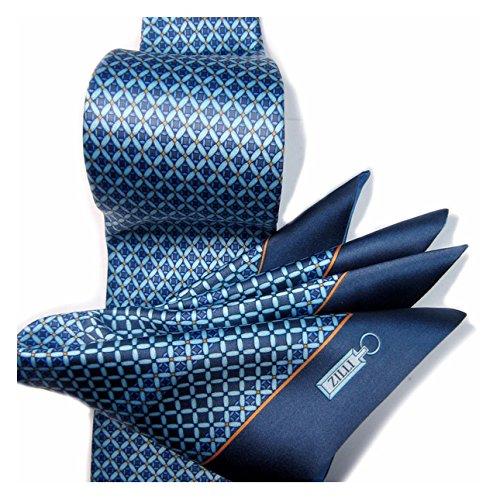 (ジリー)ZILLI シルク プリント ネクタイ ポケットチーフ セット ブルー イエロー