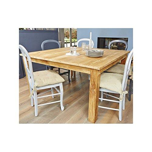 Table carrée en bois de TECK BRUT QUALITE PREMIUM - 140cm