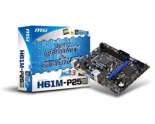 MSI H61 (B3) Micro ATX DDR3 1333 LGA 1155 Motherboards H61M-P25 (B3) (Dark Brown/Blue)