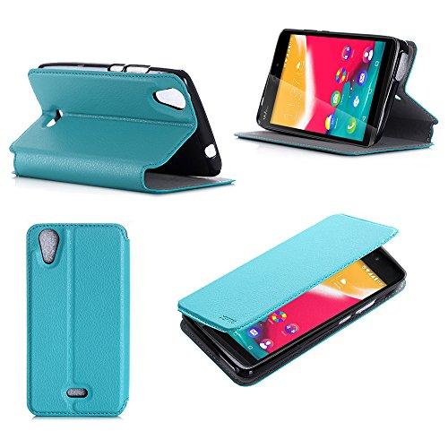Turchese Custodia Pelle Ultra Slim per Wiko Rainbow JAM 3G smartphone - Flip Case Funda Cover protettiva Wiko Rainbow JAM Dual Sim (PU Pelle - Turquoise) - XEPTIO accessori