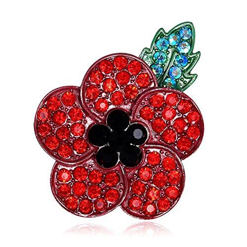 Poppy Flowers Brooch 5 Crystal Petal 40mm X 50mm